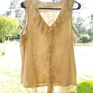 Cream Lace Sleeveless Top - Stretchy